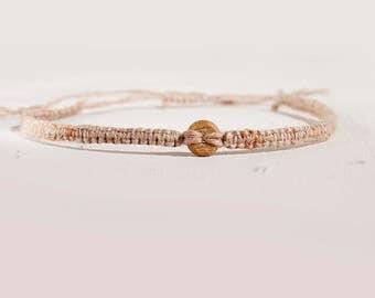 Wood and Hemp, Macrame braided anklet, Natural hemp jewelry, Body jewellery, Vegan anklet, adjustable anklet, textile boho bracelet