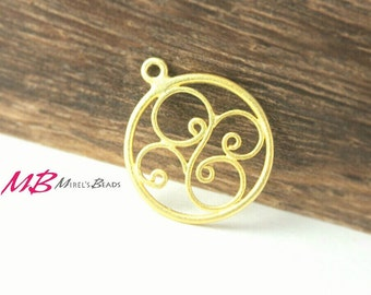 22k Gold Over 925 Sterling Silver Filigree Charm, Round Gold Charm