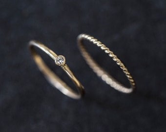 Delicate Diamond Ring Set Solid gold stacking rings Set of two Rope / Twist Matching Dainty Thin Single Solitaire diamond 14k yellow gold