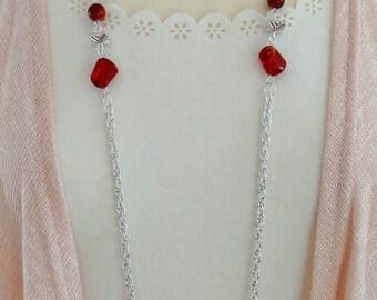 Long Red Beaded Necklace, Long Red Necklace, Long Necklace, Beaded Necklace, Boho Necklace, Flapper Necklace, Vintage Necklace