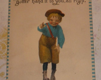 Little Boy -Gotter Hand It toYou, All Right?  Humorous Postcard