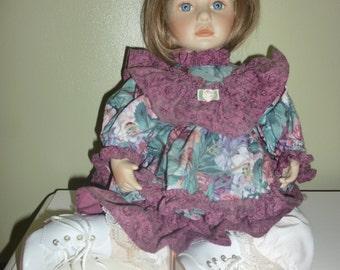 "Vintage Porcelain Doll 15"" Sandy Blonde Hair Blue Eyes Purple Dress 1980's"