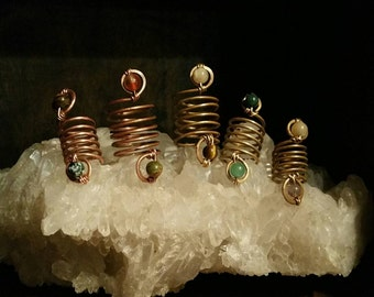 Gemstone dread coils || crystal dread beads, naturally oxidized recycled Brass and Copper,dreadbead,hair braid bead,dreadlock accessories