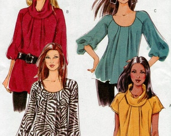 Butterick B5388 Misses Top Sewing Pattern OOP Loose Fitting Top Scoop or Cowl Neckline Raglan Sleeves Size 8 10 12 14 UNCUT