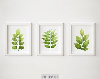 Botanical art Set of 3 leaves Printable art prints Set of 3 wall art, Printable decor Green plants art, Wall decor Digital prints 5x7, 8x10
