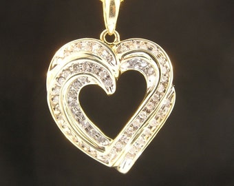 10k Yellow Gold 1cttw Diamonds Triple Hearts Love Pendant - Artisan Signed - On Consignment - Vintage Estate