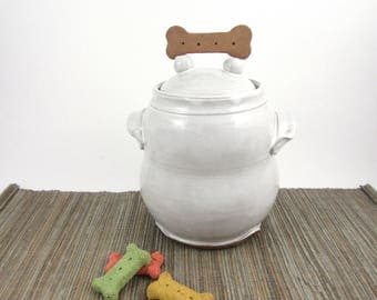 Medium Pottery Dog Treat Jar, White Dog Cookie Jar, Lidded Container, Cookie Jar, Pet Treats, Ceramic Stoneware Jar, Ready to Ship