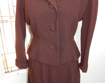 Vintage 1940s Suit | Two Piece Brown Wool Skirt Suit | Medium Large