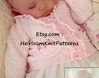 Girls Cardigan and Hat Knitting Pattern 16-26'' Baby Toddler Child Pattern DK 8ply Knitted Cardigan Pattern Instant Download PDF - 757