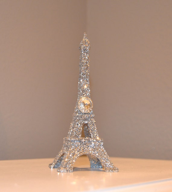 Glitter eiffel tower cake topper with bling gem brooch paris for Eiffel tower decorations for the home