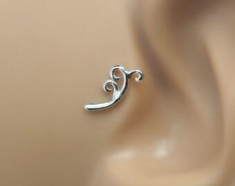 Helix 16 Gauge Stud - Floral Helix Stud - Helix Earring - Cartilage Earring - Floral Tragus Stud - Tragus 16 Gauge - Tragus Piercing 16g