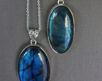 Large Labradorite Necklace/Sterling Silver Labradorite Necklace/Labradorite Pendant/Blue Flash Labradorite/Quality Blue Labradorite/LB077