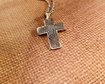 INK-1 LARGE cross FINGERPRINT Necklace in Fine .999 Silver..precious charm on a Sterling Silver Chain