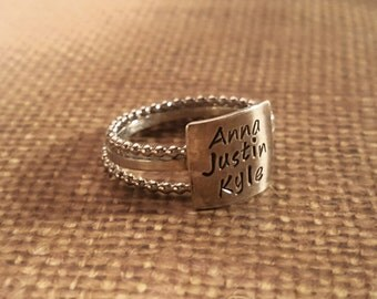 OVERsized MULTIPLE names Stacking RING set-1 oversized _2 ball spacers in sterling SILVER