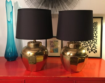 Pair of Brass Gold Hollywood Regency Style Table Lamps