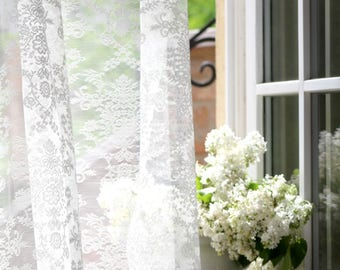 """ESTÉE' Classical Patterned Off white or Ivory Colored W116"""" Full Lenght French Net Lace Curtain Sale By the Yard or Made To Order"""