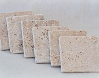 Handmade Stone Coasters - Blank Absorbent Travertine Tile with thick Cork Backing for Weddings, gifts, crafting or home decoration