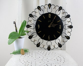 Vintage clock SCHATZ from the 60s clock pm Mid Century Küchenuhr Clock Made in Germany living room wall clock pendant watch Black