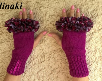 Knit Fingerless Gloves Purple Fuschia Frilled