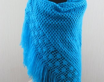 Shawl Knit Crochet Turquoise Handmade Wool Wrap Warm Winter Women Gift for her Mothers Day