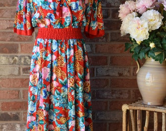 DIANE FREIS  SILK Dress 80s Dress Oriental Print Dress