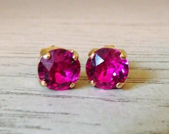 Pink Swarovski Crystal, Pink Studs, Fuchsia Studs, Valentines earrings, Pink jewelry, Fuchsia Swarovski Crystal, everyday studs