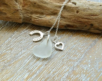 Sea Glass Wedding Necklace, Beach Wedding Jewelry, Sea Glass Jewellery, Destination Wedding Jewelry, Romantic Jewelry, Wedding Horseshoe