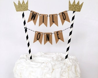 Where The Wild Things Are Cake Topper / Wild One Cake Banner / Cake Bunting / First Birthday Party / Dessert Table Decor / 1st Cake Smash