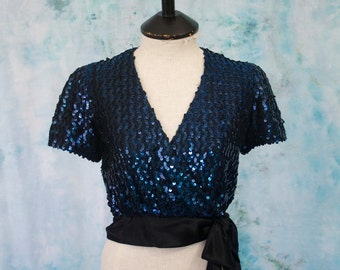 1980s Norman Berg for Denise Fashions Sapphire Blue Sequin Top; Blue Sequin Crop Top