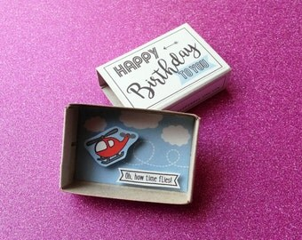 Birthday card boy / Matchbox message / Happy birthday / Red Helicopter / Airplane party / Aviator card / Childrens gift card / Pilot card