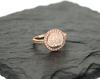 925 Sterling Silver CZ Monogram Ring, Single Ring, Monogram Ring, Rose Gold