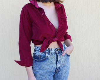 SALE Burgundy Pink Corduroy Velvet Blouse Crop Top