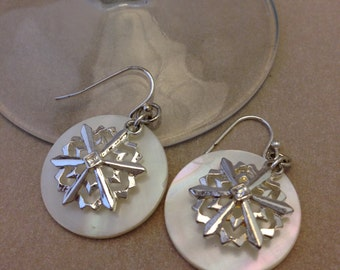 Vintage Snowflake Shell Earrings
