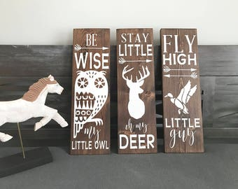 Wood Sign Home Decor, Home Decor Wood Nursery Signs, Tribal Nursery Wood Signs, Woodland Nursery Signs, Rustic Signs, Set of 3 Signs, 5.5x18