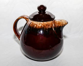 Vintage Hull Pottery USA Oven-Proof Brown Drip Glaze Teapot
