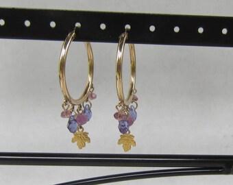 JWK Gold Filled Hoop Earrings with Dangling  Faceted Amethyst Crystals      0092