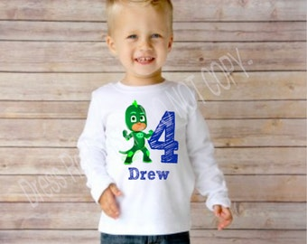 PJ Masks birthday boy t shirt with name