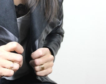 Hand Forged Gold Filled Stackable Hammered Rings, Simple Stacking Band Rings, Gold Ring, Modern Geometric Jewelry // Set of 3 // R002-G