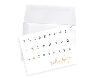Custom Note Card Initial Letter Gift Set with Envelopes, Modern Stationery Typewriter Note Cards, Personalized Notes Personal Stationary