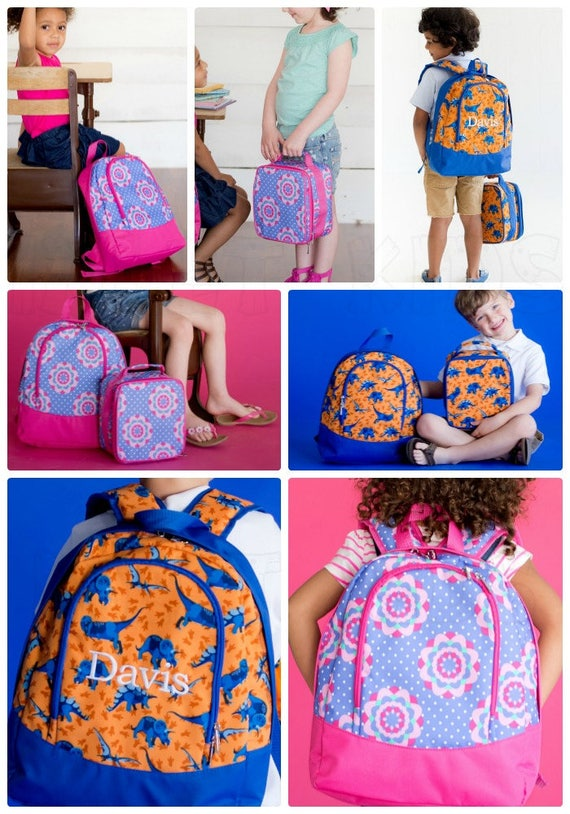 PRESCHOOL size Backpack and matching lunchbox, Boy's Dinosaur Backpack, Girls Flower Backpack