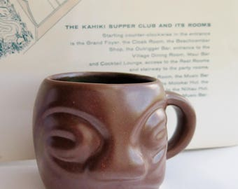 Vintage Tiki Mug Kahiki Coffee Grog Cup Hot Butter Rum Original Ceramic Drink Vessel Columbus Ohio Hoffman Pottery 1960s