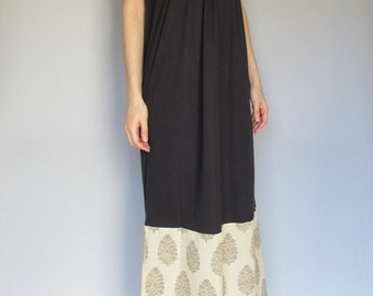 eyes of india -black organic cotton bamboo with floral indian block print ethnic festival hippie boho maxi dress xs small