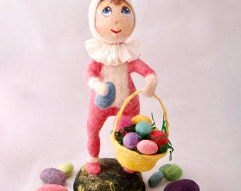 Spun cotton girl in a bunny suit OOAK Easter vintage craft by jejeMae