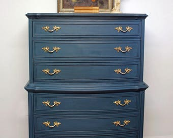 Vintage French Provincial Highboy Dresser, Hand Painted Chest of Drawers