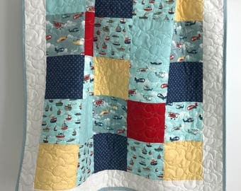 Baby Boy Quilt with Planes Fly Aweigh Boats Ships Collection by Riley Blake Aqua Red Navy Grey