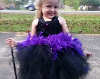 Purple/Black Witch Tutu set:  Witch Hat Headband, tutu with Halloween boa, mask option, witch tutu, witch costume, toddler halloween costume