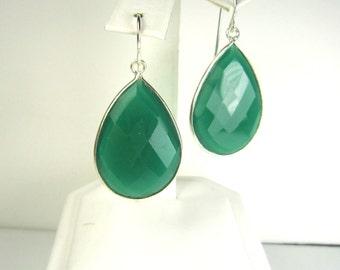 Large Green Onyx Earrings, Sterling Silver, Bezel Setting, Statement Earrings, Teardrop, Gemstone Earrings, Inspired by Stella and Dot