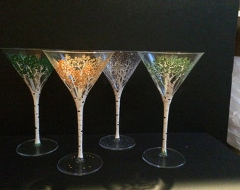 4 Seasons of the Aspen Tree Handpainted Martini Glasses
