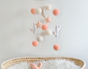 Peach 'Desert Night' Nursery Mobile, Cactus Mobile, Boho Baby Nursery Mobile, Boho Baby Room Decor, Boho Baby Nursery Decor - MADE TO ORDER