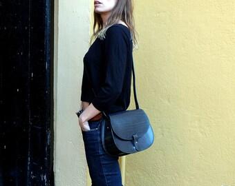 Leather purse crossbody Leonorus, handmade leather bag, Black handbag, shoulder bag, Saddle bag purse, Leather satchel, Vintage leather bag